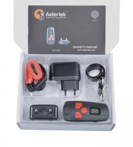 Complete kit of education for small dog includes 1 remote control 1 receiver 1 strap a tester and an electric charger.