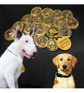 Médaille gravé race de chien en relief