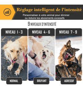 Réglage intelligent de l'intensité personnalisé à votre chien pour limiter ou  éliminer les aboiements.