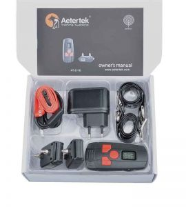 Complete kit of education for small dog includes 1 remote control 2 receivers 2 straps 2 testers and an electric charger.