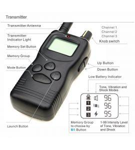 Vista dettagliata delle funzioni del telecomando a collare educativo PET900