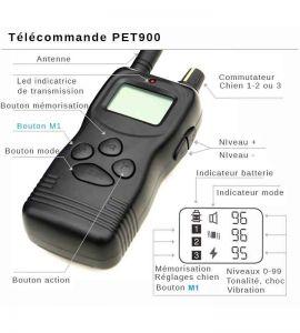 Vista detallada francesa de las funciones del control remoto del Collar educativo PET900
