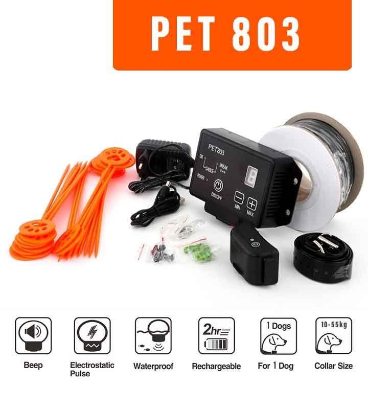 vedat d'esgrima petinera per a gossos PET803. coll de gos elèctric amb protecció anti-fugida fins a 2.500 m²