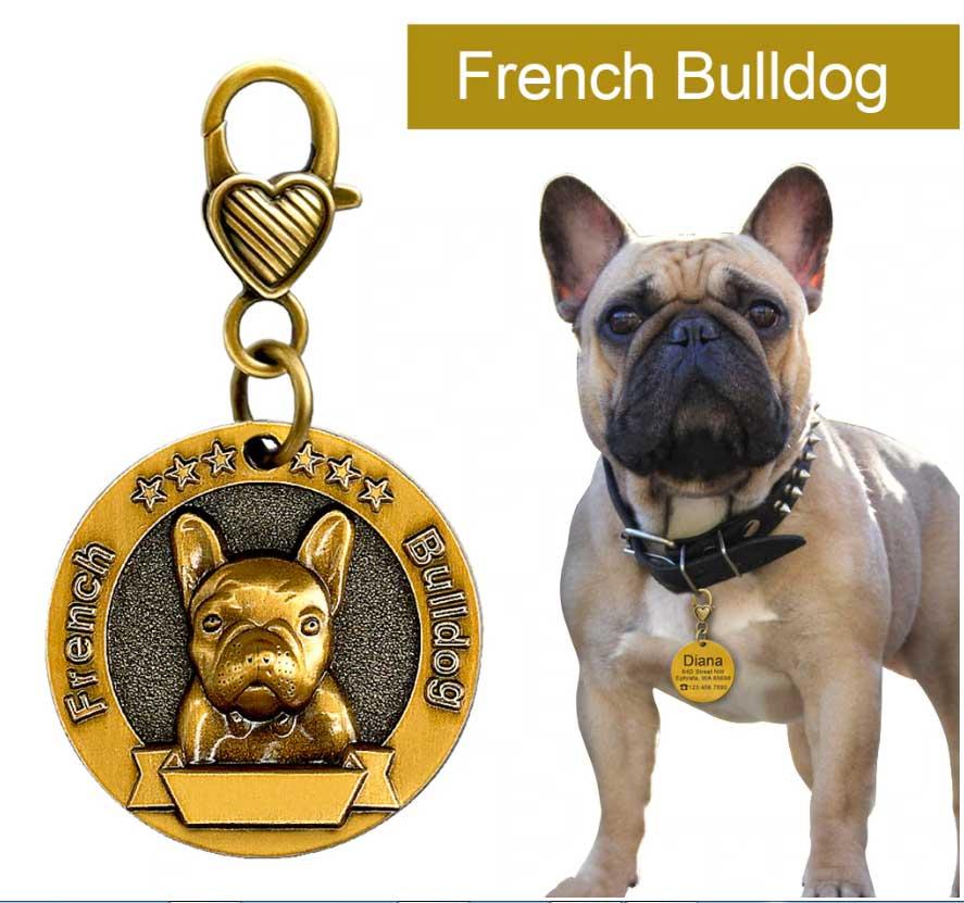 Médaille pour chien type bouledogue francais