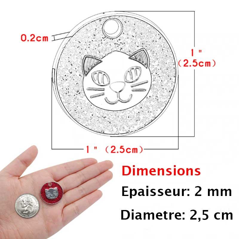 Dimension de la médaille  ronde pour chat