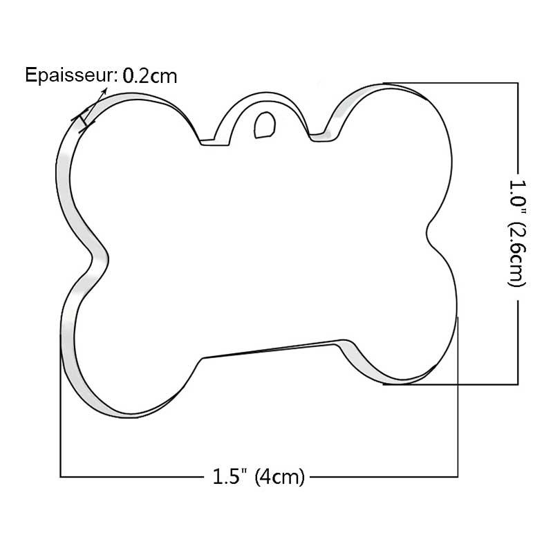 Taille de la médaille forme os avec strass